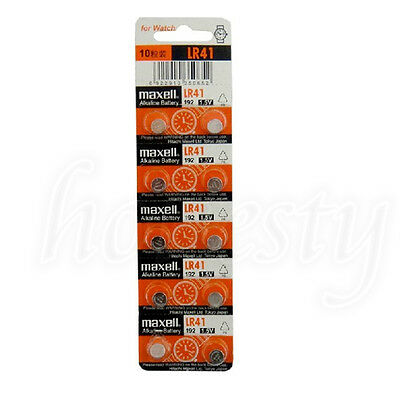 10PCS Battery For Maxell Coin Cell Button battery LR41 192 L736/AG3 392A RW37 38