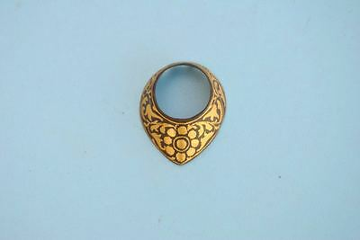 Vintage Indo Persian Mughal Islamic Rajput Gold Dmascened Thumb Archer Ring