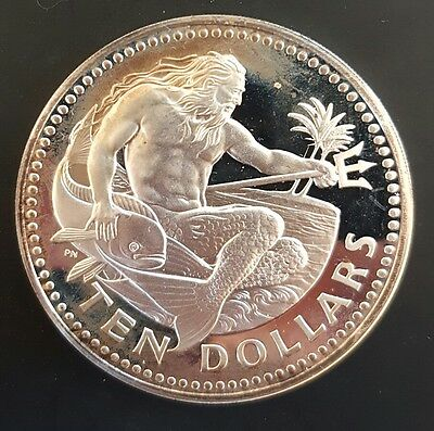 1973 Barbados 10 Dollars Silver Proof Coin (God of the Sea Poseidon)....