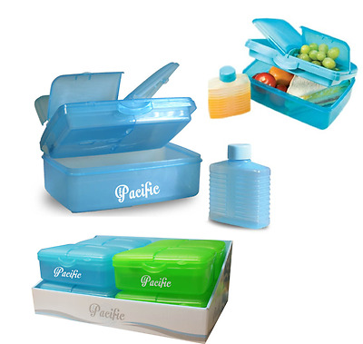 Aqua Blue Packed Lunch Box  Lunchbox With Bottle Stylish Green Box Work Picnic