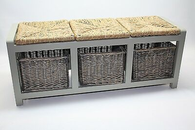 Hallway Storage Bench Grey Wooden Shoe Cabinet 3 Drawer Wicker Baskets Seat Area