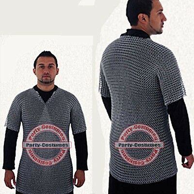 ALUMINIUM CHAINMAIL SHIRT BUTTED ALUMINUM CHAIN MAIL HAUBERGEON MEDIEVAL s@t8