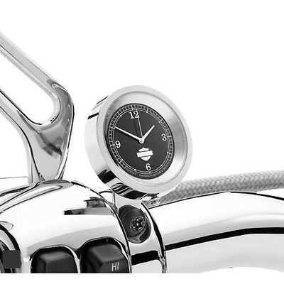 Harley Davidson Handlebar Clock Chrome with Black Face