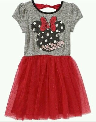 Disney Minnie Mouse Girls' Dots Hacci with Red Tutu Dress Sz XS 4-5 or MED 7-8