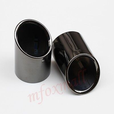 2X Titanium Muffler Exhaust Tail Pipe Tip Cover Trim For Cadillac ATS 2013-2016