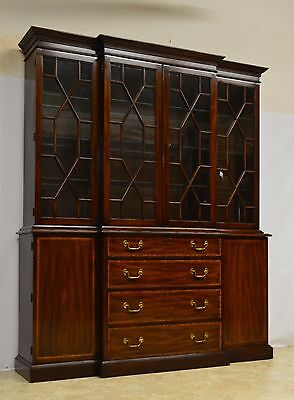 Henkel Harris 2pc Mahogany Banded China Cabinet Breakfront