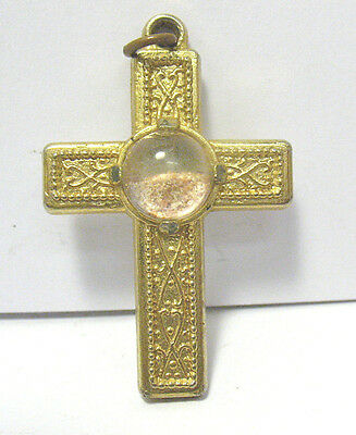 Vintage Gold Holy Cross Relic Pendant Sand Under Glass Dome