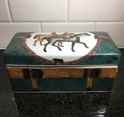 """Vintage Hand Painted 8"""" Lidded Box FAUX TRUNK equestrian HORSE ENGLISH 1960s"""
