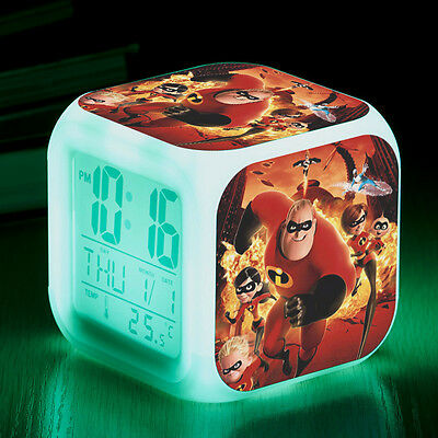 The Incredibles 7 Color LED Night Light Alarm Clock Figures Watch kids gifts