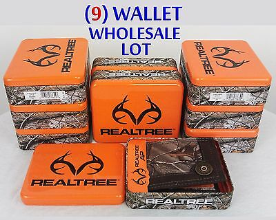 Realtree Camo Mens Wallet Billfold 9 PC Wholesale Lot NEW in Collector Gift Tins