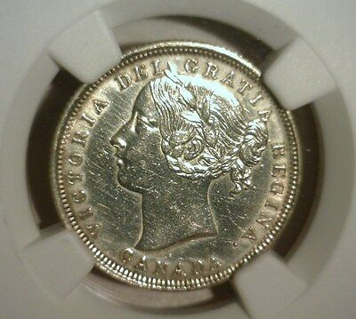 1858  Canada  20 Cent Silver   Ngc Au Details   Nice Looking Coin!!!