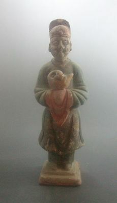 """China Antique Ming Dy Clay Burn 3Color Pottery""""male Hug A Duck""""tomb Bury Statue"""