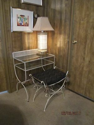 Vintage Iron Brass Hollywood Regency Vanity with Seat Stool Bench