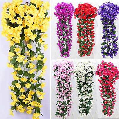 1 Bunches of Artifical Violet Bracketplant Hanging Garland Vine Flower Traling B