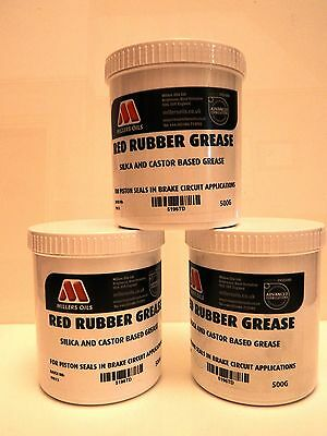 Millers Oil Premium Red Rubber Grease - 500 Gram Tin For Brake Seals 5196Tb
