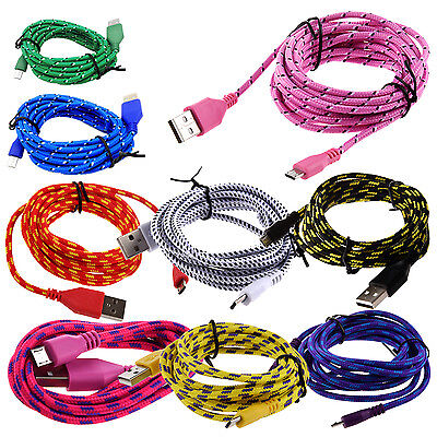 Braided Fabric Micro USB Data&Sync Charger Cable Cord H3U5