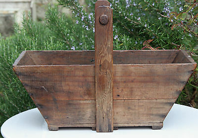 Antique wooden trug c19th century flowers, herbs vegetables