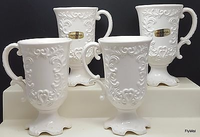"Napcoware Provincial C-7992 Tall White Footed Mug Cup 5.5"" Set of 4"