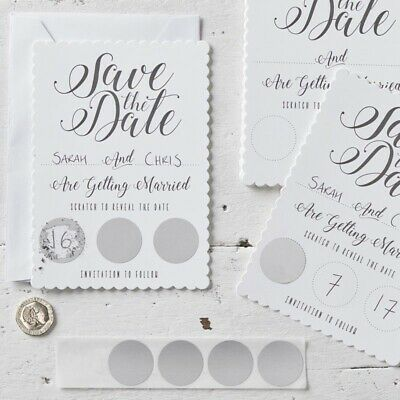 10x White Scratch & Save the Date Invitations - Scratch & Reveal by Ginger Ray