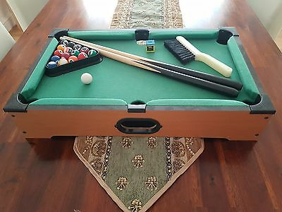 Miniature Pool Table with Two Cues, Blue Chalk, Brush and Full Set of Balls