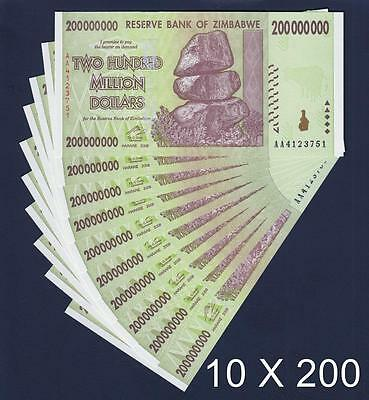 Zimbabwe 10 X 200 Million Dollars 2008 SERIES-AA Pick-81 UNCIRCULATED