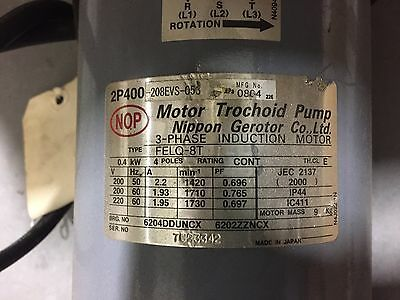 NOP Trochoid Pump and Motor 2P400-208EVS-053 Used and refurbished for AKZ148