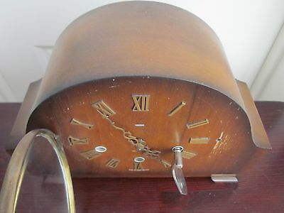 Smith Mantle Clock Westminster Chiming WORKING+KEY Chunky 8day? 2 jewel
