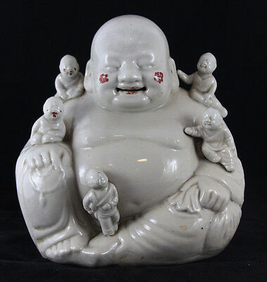 Antique Chinese White Glaze Porcelain Happy Laughing Fertility Buddha w/Children