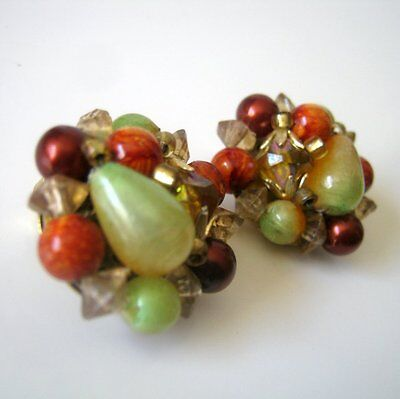 Vintage Green Red Gold Clip On Earrings, Made in Hong Kong