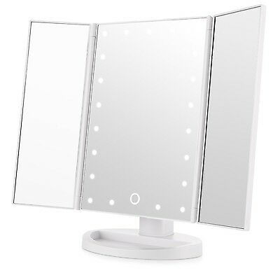 Easehold Tri-Fold Makeup Mirror with Lights 21Pcs Led Lights Free Standing Co...