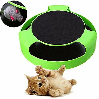 Invero Cat Kitten Catch The Mouse Moving Plush Toy Interactive Scratching Cla...
