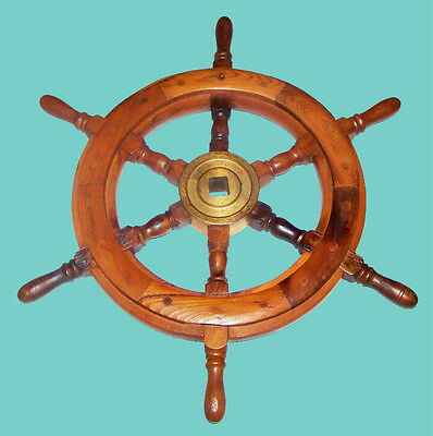 """Vintage Wooden & Brass 18"""" Ship Wheel w/ Rare Square Hole Excellent Condition"""