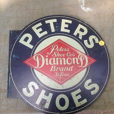 Vintage Original Peters Diamond Brand Shoes Metal Flange Sign