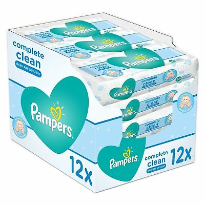 12x Pampers Complete Clean Baby 64 Wipes Refreshing Soft Gentle Strong 768 Wipes