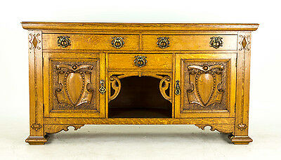 B524 Fabulous Antique Scottish Tiger Oak Art Nouveau Sideboard, Buffet