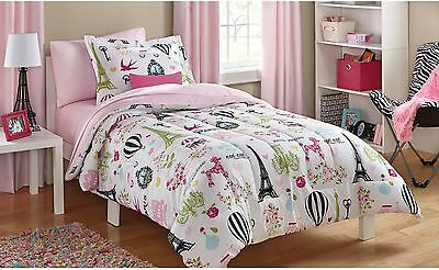 New Mainstays Kids Paris Bed In A Bag Bedding Set Twin Size Pink