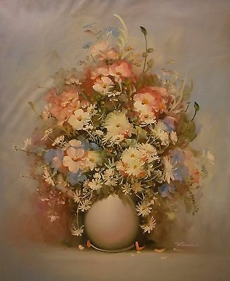 Vase of pastel flowers 24x20 OIL PAINTING on flat canvas signed RENEE