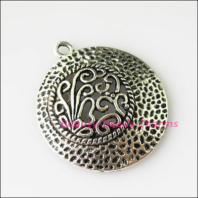 3 New Round Flower Clouds Tibetan Silver Tone Charms Pendants 29x33mm