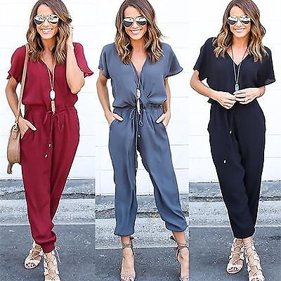 Womens Slim V Neck Evening Party Playsuit Ladies Romper Long Jumpsuit Size 6 -16