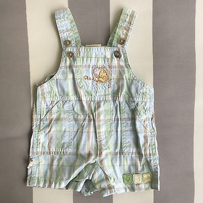 Classic Pooh by Disney Baby Toddler Overall Plaided 100% Cotton Size 3 Month EUC