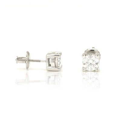 1Ct Natural Round Cut Diamond Screwback Stud Earrings 14K Solid White Gold