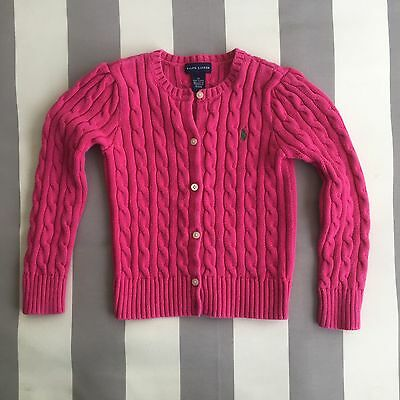 Polo Ralph Lauren Girl's Cardigan Crew Button Sweater Pink Size 6X *EUC