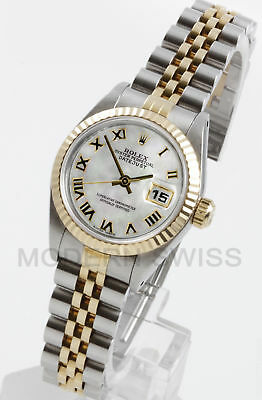 Rolex Ladies Datejust Gold & Steel White MOP Roman Dial Fluted Jubilee Two Tone