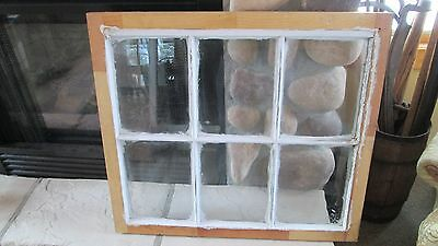 Vintage Wood Window sash 6 pane GLASS picture frame  white wedding