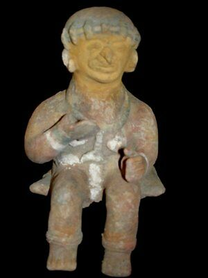 Ancient Jama Coaque Seated Shaman Figure Precolumbian Ecuador Tribal Art