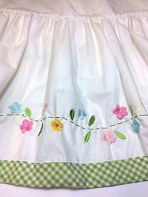 Pottery Barn Crib Skirt Embroidered Flowers Cotton Gingham Green Pink Blue NWT