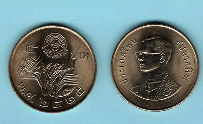 King Bhumibol Adulyadej 1982 Rama IX Thailand 5 Baht Coin World Food Rice Thai