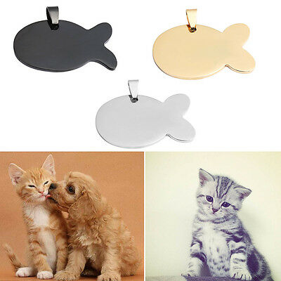 Anti-Lost Dog Cat Fish Shape Pet Tag Steel Stainless ID Name Pendant for Blank