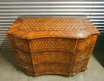 Antique 18th C. Inlaid Walnut Parquetry German 3-Drawer Chest Commode