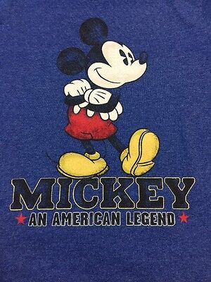 The Disney Store KIDS Youth Boy Girl Blue Tee Shirt Size 6 Small MICKEY Legend